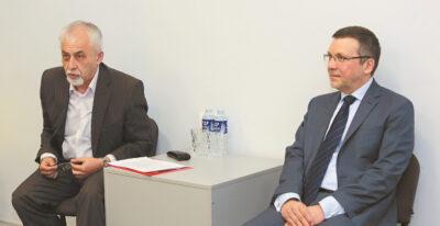 Saulius Spurga (dešinėje) ir Benjaminas Mašalaitis – romano pristatyme.