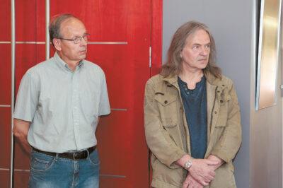 Eduardas Končius ir Kazimieras Barišauskas atstovavo žymiausių praėjusio ir šio šimtmečių Marijampolės savivaldybės tautodailininkų kūrybos parodos autoriams.
