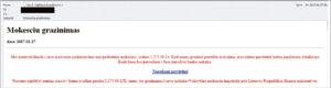 Suklastotas Mokesčių inspekcijos laiškas, vedantis į netikrą VMI svetainę.