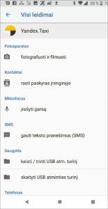 """""""Yandex. Taxi"""" programėlė prašo prieigos prie itin jautrių duomenų."""
