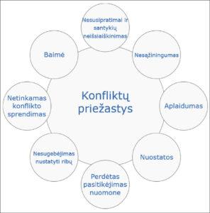 Konfliktų atsiradimo priežastys pagal J. Edelman ir M. B. Crain (1997).
