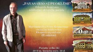 """Plakate – autorius ir jo """"Senosios Marijampolės"""" miniatiūros."""