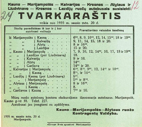 Marijampolės krašto viešojo transporto istorijos štrichai