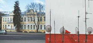 Kairėje Didžiosios Britanijos ambasada Vilniuje, dešinėje – Rusijos ambasados pastato stogas. Pasvarstykite patys, ką gali reikšti toks didelis antenų kiekis ant pastato, kuriame įsikūrusi Rusijos diplomatinė atstovybė.