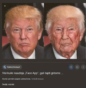 """Interneto paieškos sistemoje """"Google"""" gausu """"FaceApp"""" programėle apdirbtų nuotraukų pavyzdžių. Štai kaip gilioje senatvėje atrodytų Amerikos prezidentas Donaldas Trampas."""