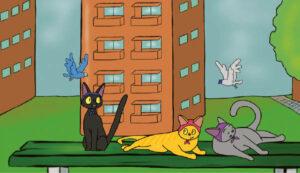 """Piešinys – kadras iš Donatos sukurto animacinio filmuko """"Бабуш-cats"""" (Katės-močiutės), kuriame katės-močiutės bendrabučio kieme kalbasi apie silkę ir tai, kad joms žada pakelti pensijas."""