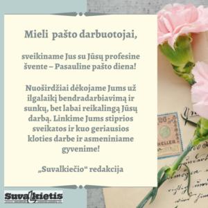 Spalio 9 dieną minima Pasaulinė pašto diena