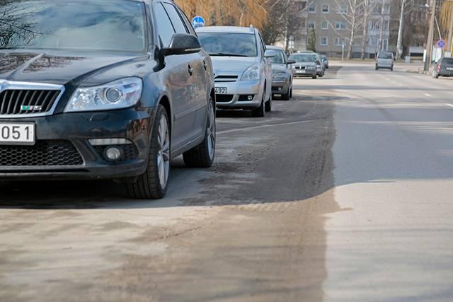 """Mokolų gatvės kelkraštį UAB """"Marijampolės švara"""" darbininkams tinkamai nuvalyti sutrukdė automobiliai."""