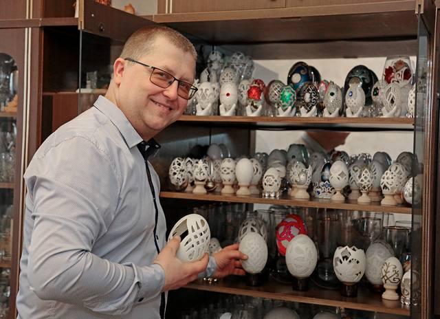 Ramūno Sinkevičiaus margučiai visi skirtingi, o jų per 7-erius metus sukaupta didžiulė kolekcija.