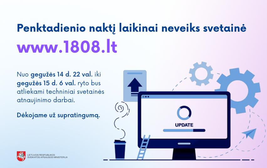 Penktadienio naktį laikinai neveiks svetainė www.1808.lt