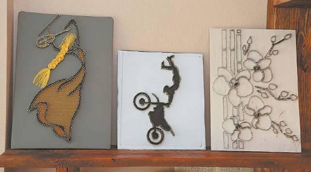 """Darbų seka: dešinėje – pirminis """"piešinys"""" vinutėmis."""